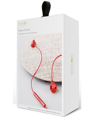 Наушники Baseus Enock H06 lateral in-ear Wire Earphone 3.5mm, красный (NGH06-09)