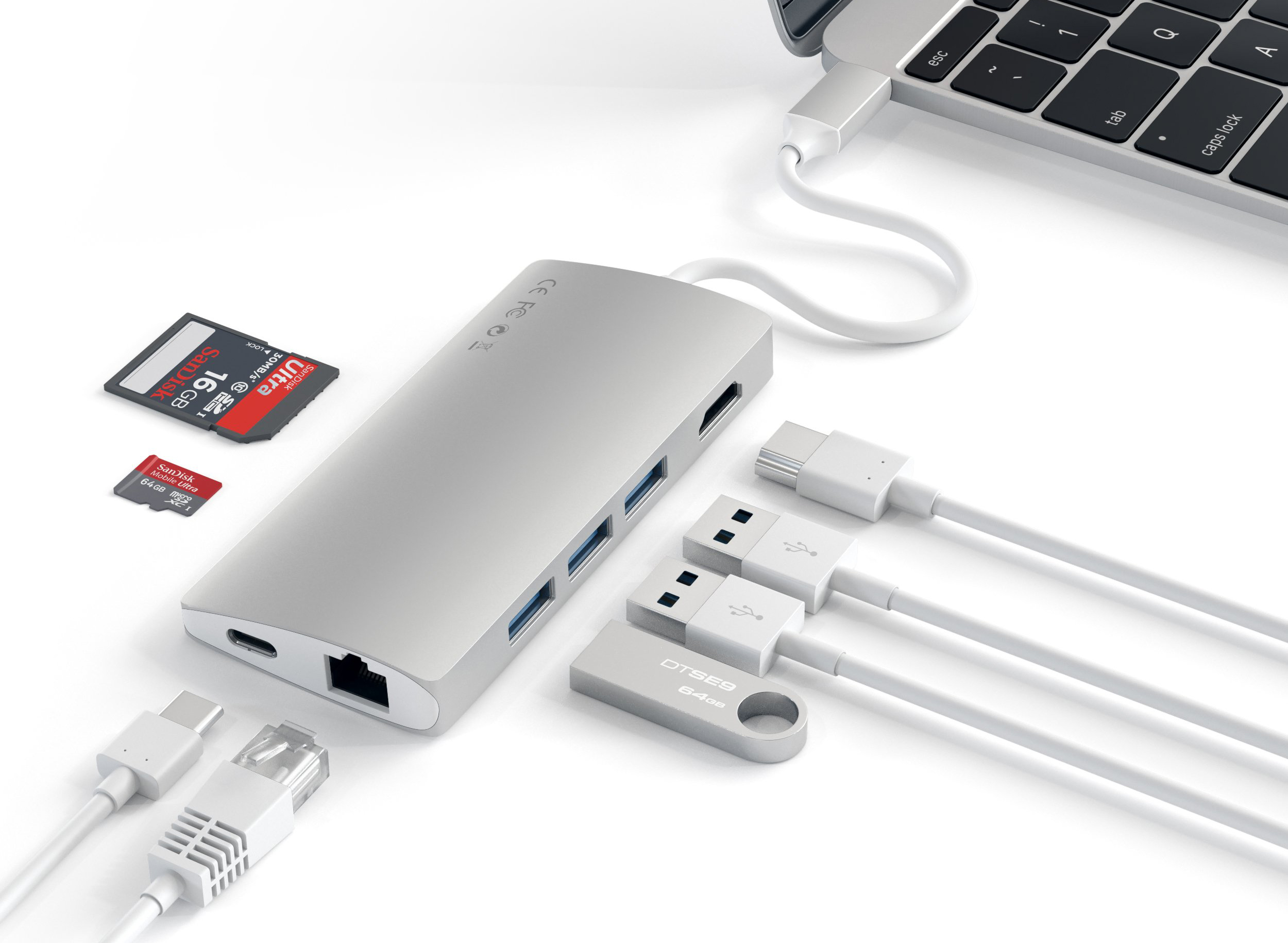 Хаб Satechi Multi-Port V2 Type-C 4K with Ethernet (Silver)